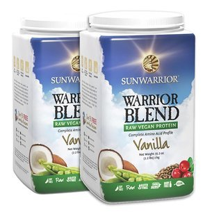 2 Warrior Blend Vanille 1kg, Synergie de Protéines Vegan & Crues 72%